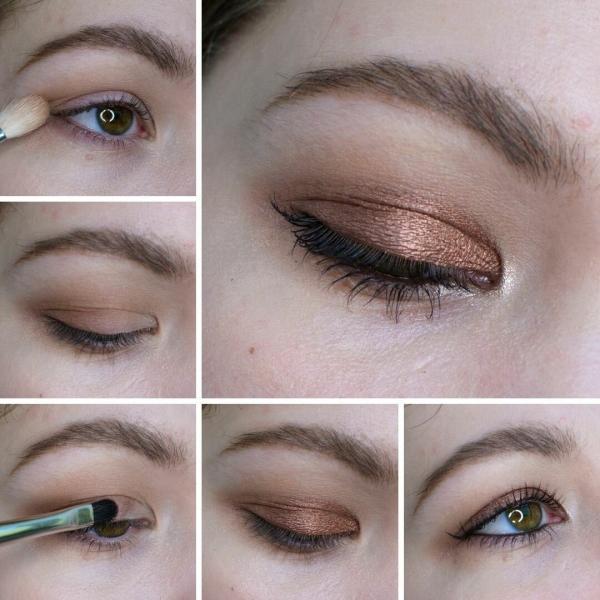 Простой макияж на нависшем веке | Коричневая классика