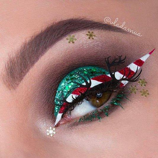 Новогодний макияж с блестками: пошаговая фотоинструкция